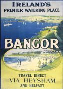 Bangor & Ballyholme Bay via Heysham-Belfast Ferry. Vintage Northern Ireland Travel Poster